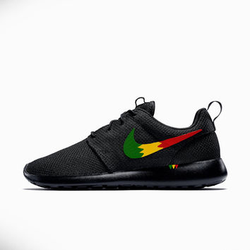Nike Roshe Run Custom Rastafari Design, Rasta Design Roshe, Red Yellow and Green, Men and Women