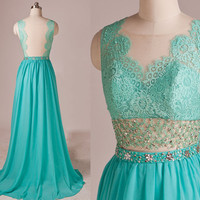 Luxury Mint Lace Neck Open Back Beading Waist See-through A-line Long Evening dress,Bridesmaid dresses,Cocktail dresses,Senior prom dress