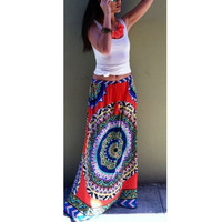 Women Gypsy Boho Floral Maxi Skirt Summer Beach Long Casual Club Skirts
