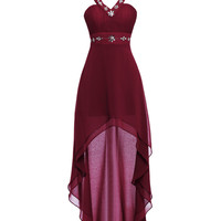Burgundy Prom Dresses 2016 Sexy Halter High Low Chiffon Ombre Dress For Graduation Under 50 Robe Bal De Promo Prom Gowns