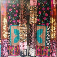 Gypsy Boho Curtains Hippie Drapes panels Hippy Boho Gypsy Fall Decor paisley vtg scarf scarves Wall Decor bohemian Bedroom Patchwork Silk
