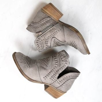Not Rated - Women's Grey Nosara Faux Leather with Weave and Braiding Details Ankle Bootie