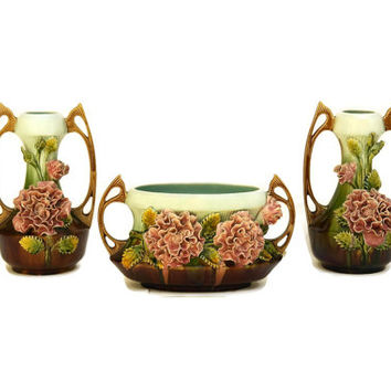 Art Nouveau Majolica Jardiniere and Vases. French Antique Garniture. Ceramic Flower Planter. Antique French Jardiniere.