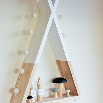 Teepee Shelf Shelves White Tribal Nursery Decor Woodland Decor Kid's Room Decor