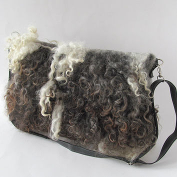 Felted  handbag  purse Messenger bag  Tote Grey brown  fringe felt fur curly wool locks