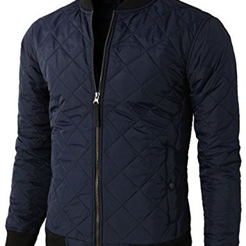 H2H Mens Casual Premium Quilted Lightweight Zip up Jacket