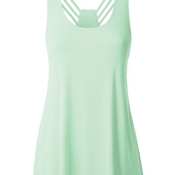 LE3NO Womens Basic Loose Fit Sleeveless Spaghetti Strap Tank Top