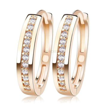 Champagne Gold-Color&Silver Color Cubic Zirconia Simple Item Female Earrings Hoop