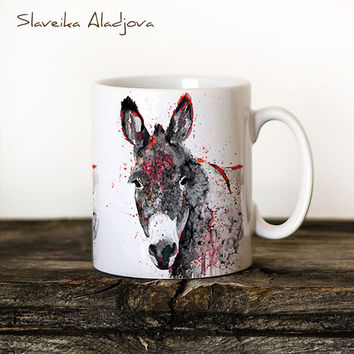 Donkey 3 Mug Watercolor Ceramic Mug Elephant Unique Gift Coffee Mug Animal Mug Tea Cup Art Illustration Cool Kitchen Art Printed mug