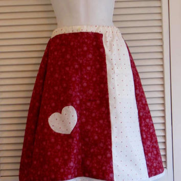 Custom made one of a kind Valentine Skirt hearts upcycled