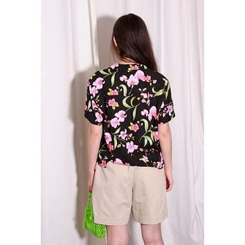 Black Floral Hawaiian Shirt / M