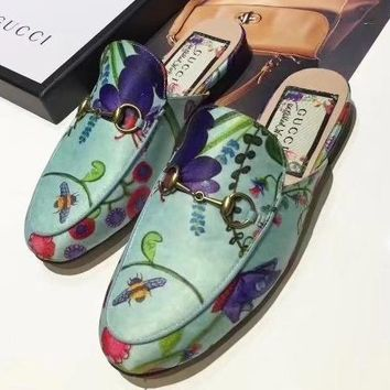 GUCCI Women Fashion Leather Flats Slipper Mules Shoes