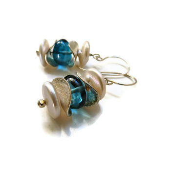 Blue London Topaz and Freshwater Pearls Dangling Sterling Silver Earrings