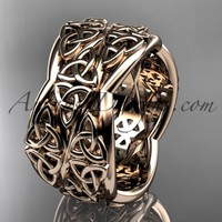 14kt rose gold celtic trinity knot wedding band, engagement ring CT7352G