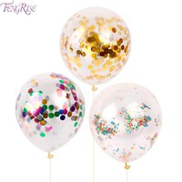 FENGRISE 10pcs 12inch Confetti Balloon Romantic Wedding Decoration Gold Foam Clear Confetti Balloons Birthday Party Supplies