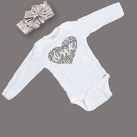 First Birthday Outfit - One Birthday Long Sleeve Glitter Bodysuit  - One Year Old Birthday Shirt and Headband - One Year Old Outfit - Silver