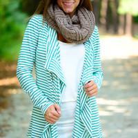 Break Free Cardigan, Jade/White