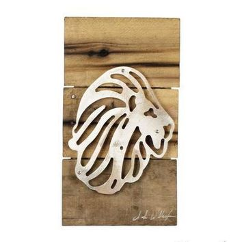 Alpha Delta Pi Lion Reclaimed Wood & Shaped Metal Art Wall Decor