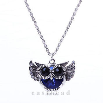 New Cute Women Lady Vintage Rhinestone Owl Pendant Long Chain Necklace Jewelry