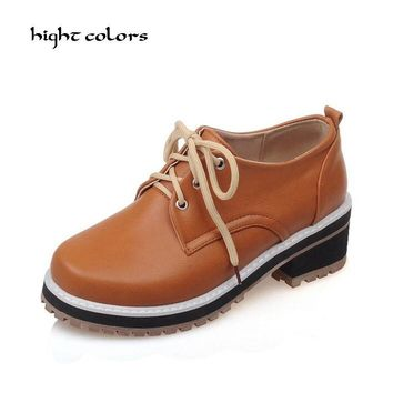 Plus Size 33~43 SIZE 2016 Fashion Vintage Round Toe Lace Up Casual Oxford School Flat Shoes Women Unisex Shoes Female