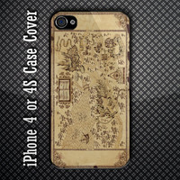Vintage Marauders Map The Wizard World Custom iPhone 4 or 4S Case Cover