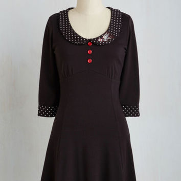 Vintage Inspired Mid-length Short Sleeves A-line Special Delivery Dress