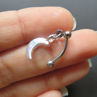 Crescent Moon Charm Dangle Cartilage Rook Charm Bar Piercing Ring 16g 16 Gauge G Ga Barbell Dangle Eyebrow Eye Brow