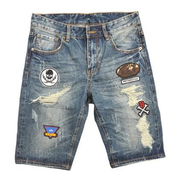 Summer Men`s Blue Shorts Jeans Denim Knee Length High Quality Brand Clothing Skull Moto Printed Destroyed Jeans Shorts Men UZ400