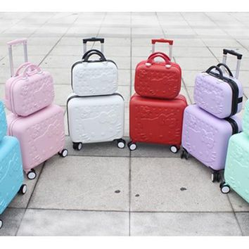 Girls Cute 14 16 abs Hello Kitty Travel Luggage Sets, High Quality Female Lovely Travel Luggage Suitcase On Wheels
