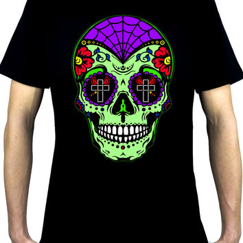 "Green Sugar Skull Men's T-shirt ""Dia De Los Muertos"" Day of the Dead"