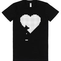 Heart Pixels - 8 Bit Retro Paddle Video Game T Shirt-Black T-Shirt