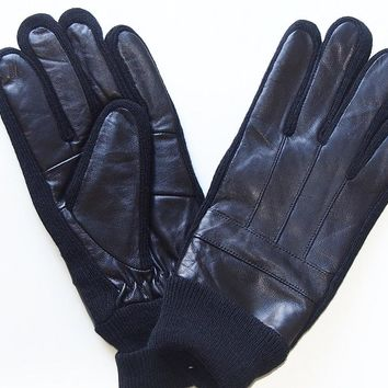 Men's Gloves Genuine Leather with Fleece Lining