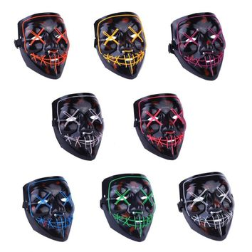 Halloween LED Black Mask Illuminates The Annual Trend Of Interesting Masks Cosplay Costumes New Era Of Heterogeneous Feats