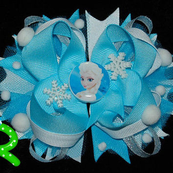 elsa frozen hair bow , blue ribbon boutique bow, disney ott bow