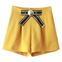 Yellow Bow Tie High Waist Shorts