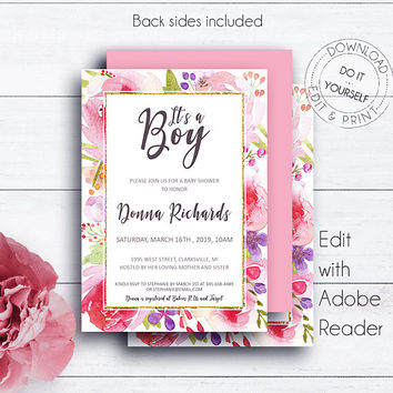 It's a Boy Baby Shower, Invitation Template, Printable Invite, Baby Boy, Editable Invitation, Glamorous Roses, DIY Invitation, PDF Templates