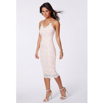 Missguided - Zoraide Lace Strappy Midi Dress Nude
