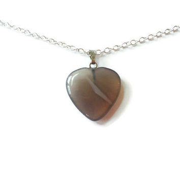 Smoky quartz heart necklace gemstone heart pendant chakra necklace healing necklace reiki necklace girlfriend necklace smoky quartz heart