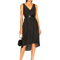 Enza Costa Double V Midi Dress in Black | FWRD