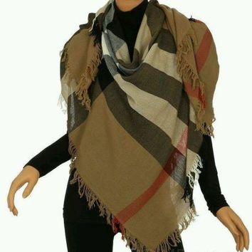 BURBERRY LADIES LUXURY COLOR CHECK WOOL SCARF WRAP SHAWL 140 X 140 CM
