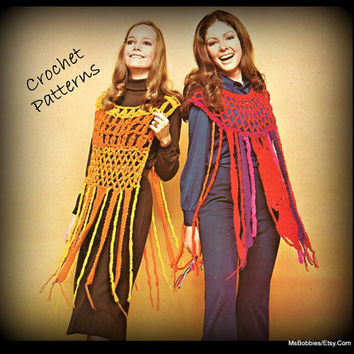 Crochet Poncho Patterns - Two Hippie Ponchos - Women - PDF 09231517
