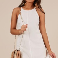 Talking Straight Dress In White Linen Look Produced By SHOWPO