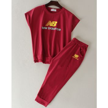 """New balance"" Fashion running sports shorts sleeve show thin T shirt suit Wine red"