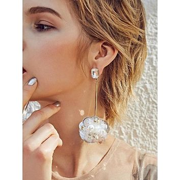 3D Flowers Imitation Pearl Sequin Earring