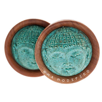Carved Turquoise Buddha in Sabo Wood Plugs (32mm & 50mm)