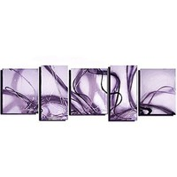 Ode-Rin Christmas Gift 100% Hand Painted Abstract Cherish Art Oil Paintings Purple Gentle And Soft Thoughts 5 Panels Wood Framed Inside For Living Room Art Work Home Decoration