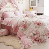 FADFAY Home Textile Pink Rose Floral Print Duvet Cover Bedding Set For Girls 4 Pieces