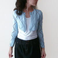 30% discount Light blue mini jacket, Pastel Hand Knit Summer lace Jacket Cardigan