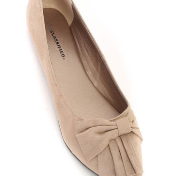 Taupe Pointy Close Toe Flats Faux Suede
