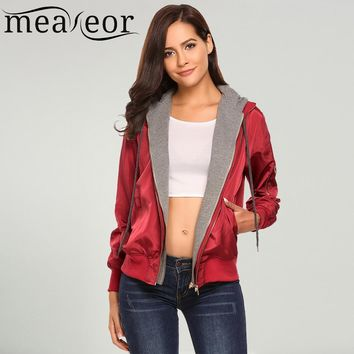 Trendy Meaneor Women's Hoodie Patchwork Casual Autumn Jackets Front Zipper Warm Relaxed Fit Pockets Drawstring Bomber Basic Jacket AT_94_13